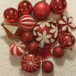 Lot of 16 Red Christmas Ornaments, Shatterproof